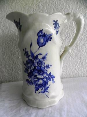 Vintage White & Blue Floral Staffordshire Iron Stone Tall Pitcher JUG England