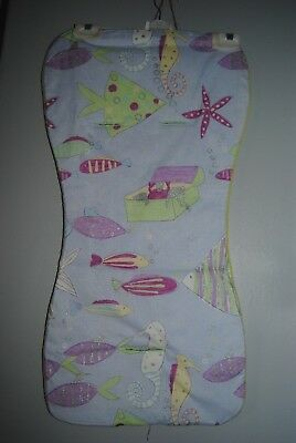lilac purple green fish sea horse treasure chest universal pram buggy liner