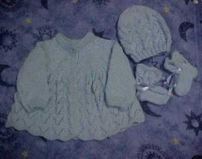 Hand Knitted Matinee Jacket, Beanie And Bootees