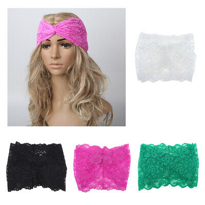 Prettyia Womens Bandanas Lace Flower Beach Headband Hair Band Wide Headwraps