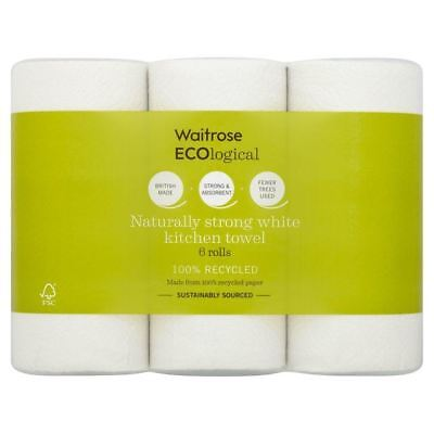 ECOlogical White Kitchen Towels Recycled Waitrose 6 per pack (Pack of 2)