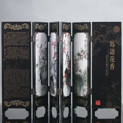Exquisite Chinese Lacquer Work Hand Bird & Flower Pattern Screen