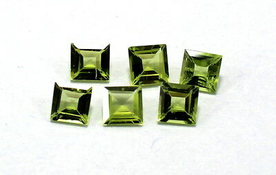 6 Pis Natural Green Peridot Gemstone 5mm Square Faceted Cut Lot S1025
