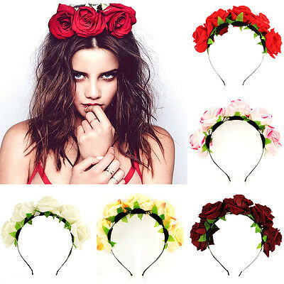 Beautiful Floral Crown Headband Flower Hair Garland Festival Wedding Hairband n4