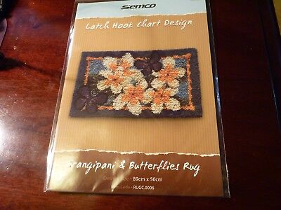 SEMCO - Latch Hook Chart Design -FRANGIPANI & BUTTERFLY RUG  design leaflet.
