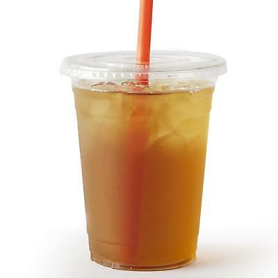 100 Sets 16 Oz. Plastic Crystal Clear Cups With Flat Lids For Cold Drinks Etc.
