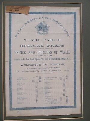 19th CENTURY, Printed Time Table, 'SPECIAL TRAIN FOR PRINCE & PRINCESS OF WALES'
