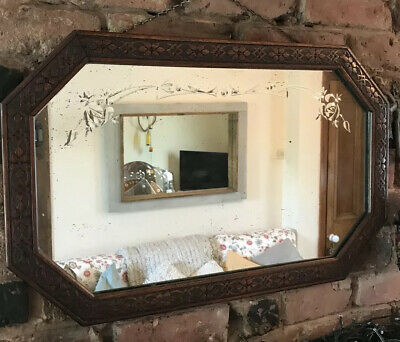 Carved Wooden Mirror Art Deco mirror With Etched Detail Foxing And Patina Mirror