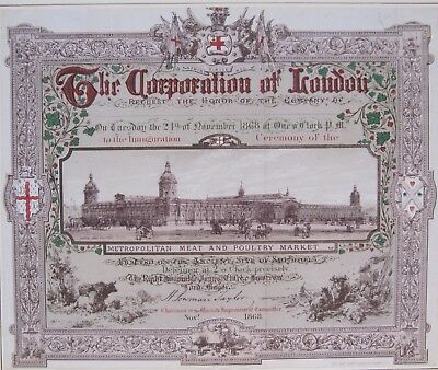 19th CENTURY, Printed Invitation from, THE CORPORATION OF LONDON, November 1868
