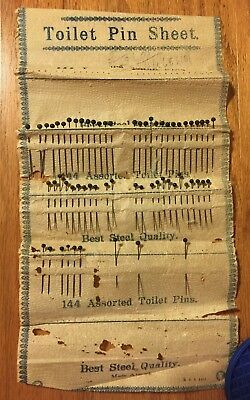 Antique Sheet of The Boudoir Toilet Pins for hats / corsages ~ marked 1911