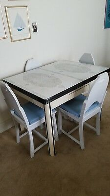 Vintage 1930's Porcelain Top Kitchen Table And Four Wood Chairs
