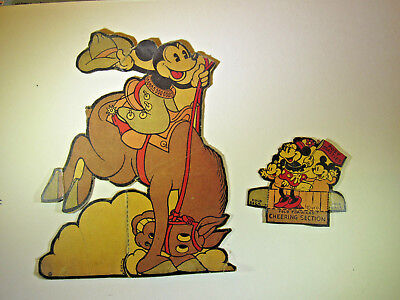 Vintage 1930s Post Toasties Cereal Walt Disney Cut Outs Mickey Bucko