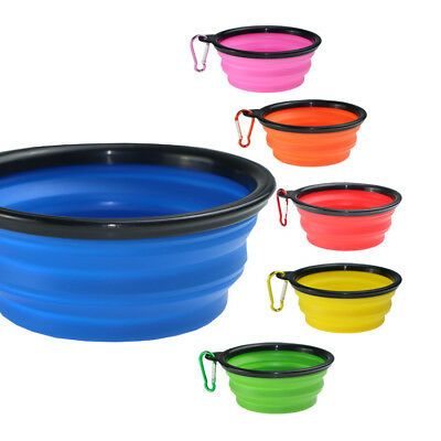 Pet Dog Portable Silicone Collapsible Travel Feeding Bowl Folding Food Dish/