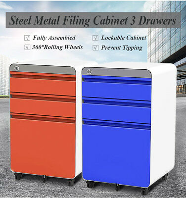 Steel Metal Filing Cabinet 3 Drawers FC/A4 Chest Lockable Rolling Office Storage