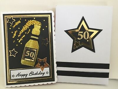 3D Handmade 50th Birthday Card Gift Boxed Black & Gold