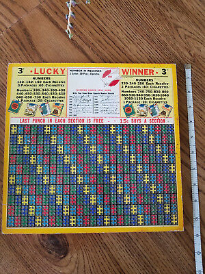 "Vintage 3 cent ""Lucky Winner"" Punch Boards size 1500 10"" x 11"""