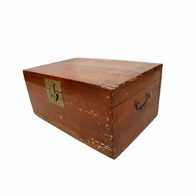 Oriental Chinese Antique Red Lacquered Travelling Trunk Storage Chest Box