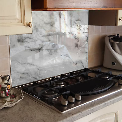 Kitchen Tempered Glass Splashback Protection marble texture gray