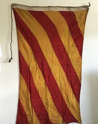 ANTIQUE RED & GOLD LINEN FLAG  30 x 57  w/  MARKING  'Y' MARITIME