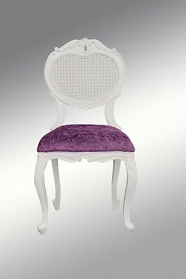 Louis XV Renee Bedroom Chair  - Crushed Fuschia Velvet and  French  White rattan