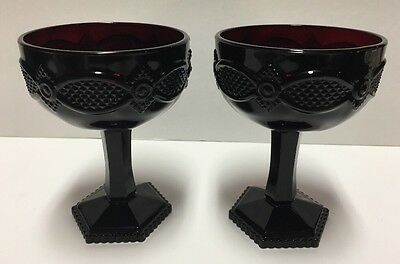 """Vintage Avon Cape Cod Ruby Red Glass Saucer Champagne Set 2 Glasses 5 1/2"""" Tall"""