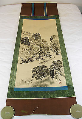 """CHINESE HANGING ART SCROLL~21 1/2"""" x 67"""" River Landscape Circa 1950's~"""
