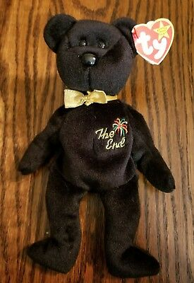 "Ty Beanie Baby Babies - ""The End"" Black/Gold Bear 1999 NEW with Tags"