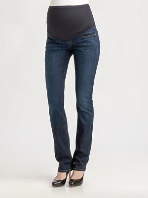"Hudson Maternity ""Secret Fit Belly"" Straight Leg Stretch Dark Jeans Size 28 $185"
