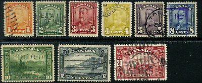 Canada #149-157 used F to VF 1928-1929 King George V Scroll Issue Part Set