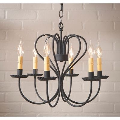 Country Primitive Farmhouse LARGE GEORGETOWN CHANDELIER in BLACK USA Made