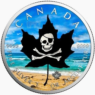 2017 1 Oz Silver $5 CANADIAN MAPLE LEAF PIRATES Coin.
