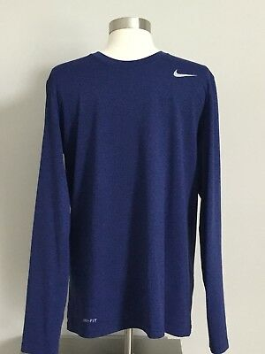 8c972555 MEN'S NIKE DRI-FIT Running Dark Blue Solid Long Sleeve Shirt Size S ...