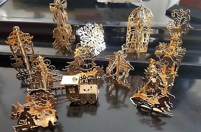 The Danbury Mint 1985 Gold Christmas Ornaments Collection Set of 12 W/Box