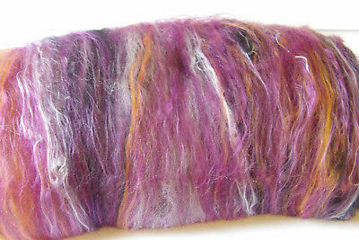 Violet Sunset Carded Art Batt Soft Wool Silk Bamboo Felt or Spinning Fleece Wool