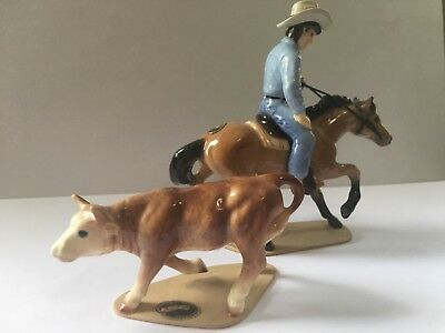 Hagen Renaker Mini Cutting Horse Rider with Steer. Porcelain Horse Figurine