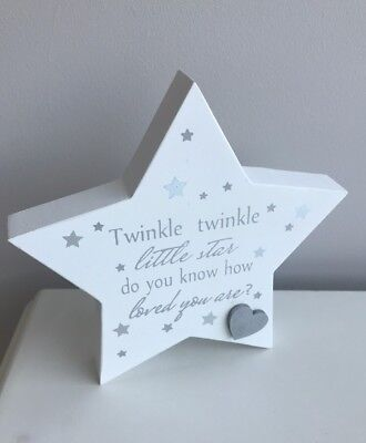 New Nursery Mantle Plaque twinkle twinkle Little star grey and white gift