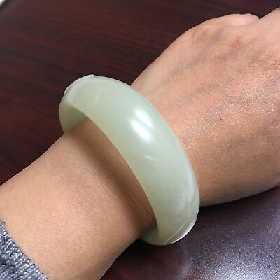 Certified Genuine Xinjiang Hetian Nephrite Jade Bangle Bracelet 56mm L217