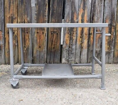 Vintage industrial table trolley metal stripped factory kitchen island bar