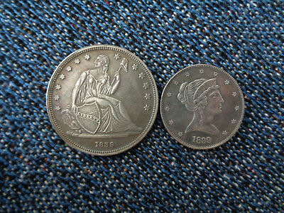 US $1 1839 Gobrechet Pattern And 1839 Half Silver Plated Copper  Fantasy Issue!