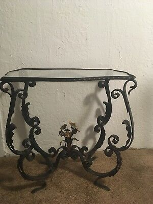 Wrought  iron side table. Patio or use as bedside table. Original patina!
