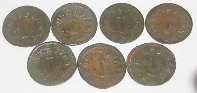 LOT of 7pcs VERY RARE JOHANN JACOB LAUER BRONZE TOKENS RECHENPFENNING 1800s # 57