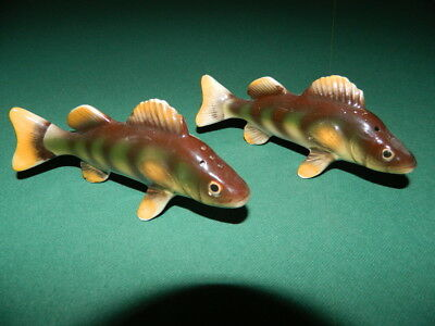 Vintage Realistic Yellow Perch Fish Salt Pepper Shakers