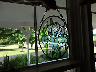 "Stained Glass Window Flowers Blue Iris Floral Suncatcher Window Panel 5"" Green"