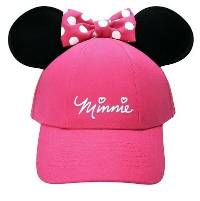 NEW!☆Disney Minnie Mouse Polka Dot Baseball with Ears, Pink Youth Girls Hat Cap
