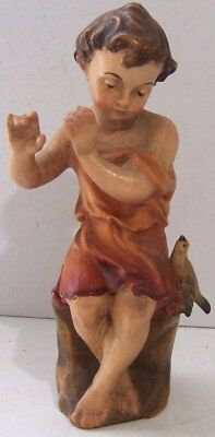 Vintage GG Lang sel. Erben Carved Wooden Child Playing Flute Fife Oberammergau