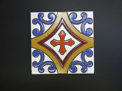 """5""""X5"""" ART DECO Hand Painted Mexican Talavera Clay Indoor Outdoor Accent Tile 1pc"""