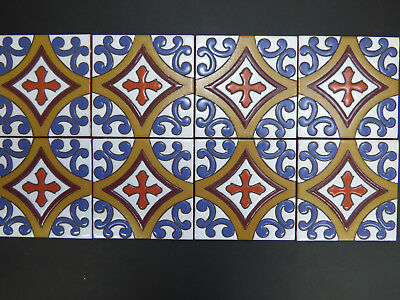 """5""""X5"""" 8 PCS Hand Painted Mexican Talavera Clay Indoor Outdoor Accent Mural Tile"""