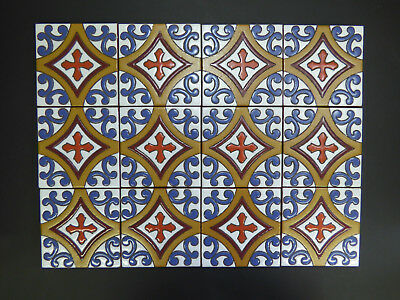 """5""""X5"""" 16 PC Hand Painted Mexican Talavera Clay Indoor Outdoor Accent Mural Tile"""