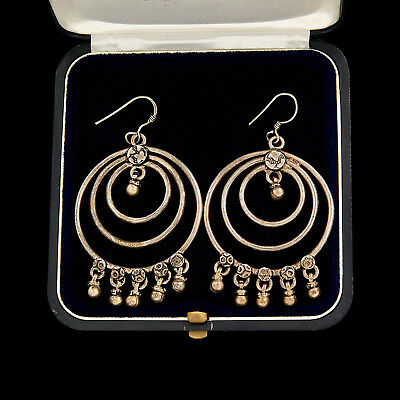 """Antique Vintage Deco Sterling Silver Chinese Miao Ethnic Tribal 2.7"""" L Earrings"""
