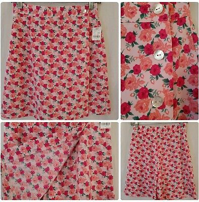 NWT TAILOR B.MOSS High Waisted Skort Skirt Short Pink Roses Made In USA Size 4